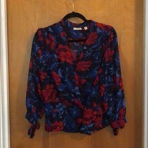 Gorgeous floral chiffon wrap blouse